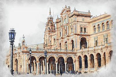 Abstract Animalia - Plaza de Espana, Seville - 20 by AM FineArtPrints