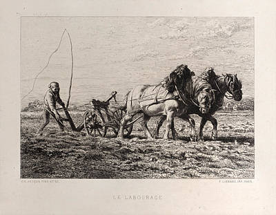 Painting - Plowing by Charles-Emile Jacque