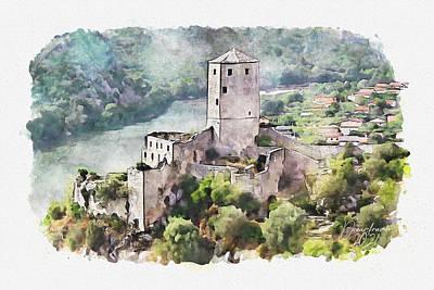 Painting - Pocitelj Fortress by Dreamframer Art