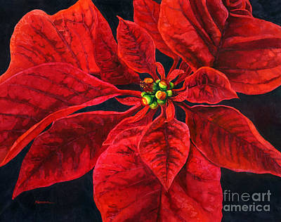 Popstar And Musician Paintings - Poinsettia Passion by Hailey E Herrera