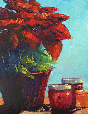 Painting - Poinsettia  by Terry Chacon