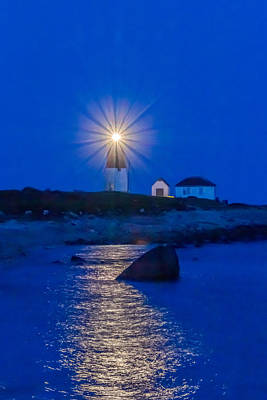 Photograph - Point Judith Lighthouse in Blue by Judy Garrard
