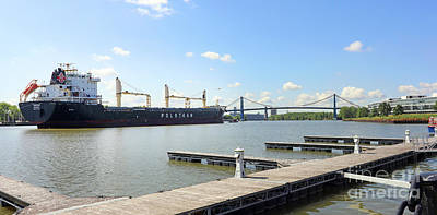 Kim Fearheiley Photography Royalty Free Images - Polsteam Freighter Pulls Into Toledo Ohio Port  9992 Royalty-Free Image by Jack Schultz