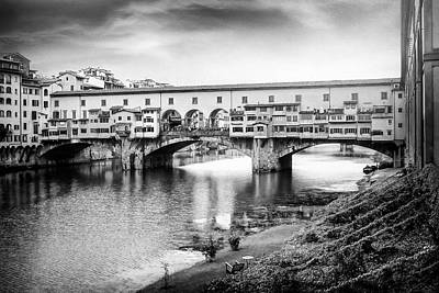 Comedian Drawings - Ponte Vecchio Florence Italy Black and White  by Carol Japp