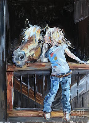 Painting - Pony and Child  by Maria Reichert