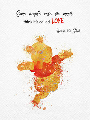 Kim Fearheiley Photography - Pooh bear and love quote watercolor by Mihaela Pater