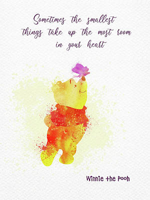 Travel - Pooh bear and quote watercolor  by Mihaela Pater