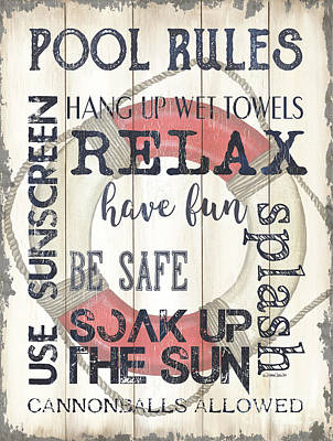 Comic Character Paintings - Pool Rules by Debbie DeWitt
