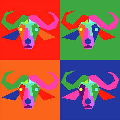 Royalty-Free and Rights-Managed Images - Pop Art Buffalo Geometric WPAP Style  by Ahmad Nusyirwan