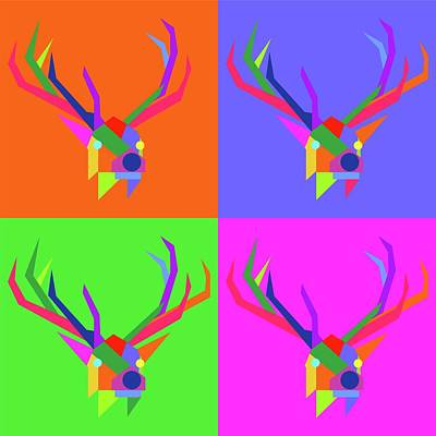 Royalty-Free and Rights-Managed Images - Pop Art Elk Geometric WPAP Style by Ahmad Nusyirwan
