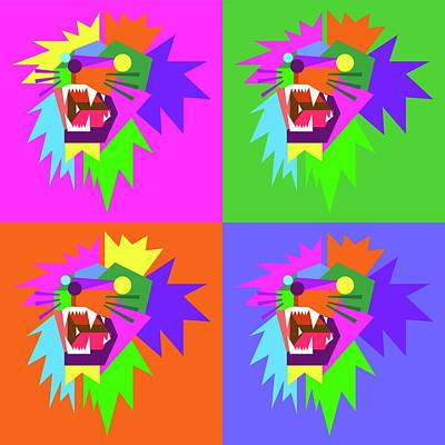 Royalty-Free and Rights-Managed Images - Pop Art Lion Geometric WPAP Style by Ahmad Nusyirwan