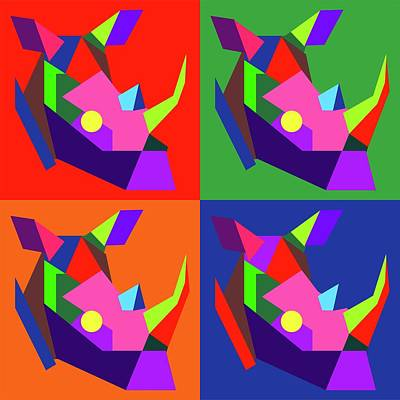 Royalty-Free and Rights-Managed Images - Pop Art Rhino Geometric WPAP Style by Ahmad Nusyirwan