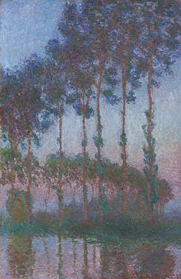 Watercolor Alphabet - Poplars on the Banks of the River Epte at Dusk by Celestial Images