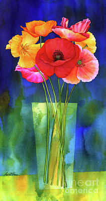 The Champagne Collection - Poppies in Vase by Hailey E Herrera