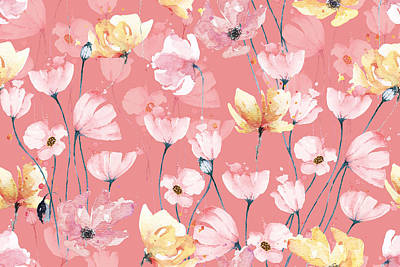 Royalty-Free and Rights-Managed Images - Poppies seamless pattern with watercolor pastel background. Hand drawn floral pattern illustration. Poppy garden. Abstract background.  by Julien