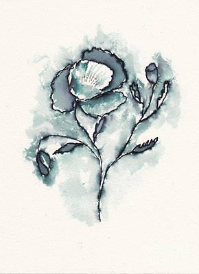 Steampunk - Poppy Flower in Ink by Conni Schaftenaar