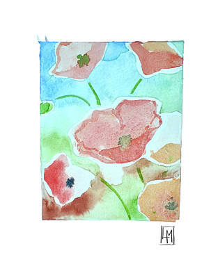 Abstract Oil Paintings Color Pattern And Texture - Poppys by Luisa Millicent