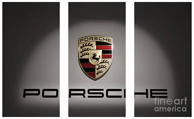 Sports Royalty-Free and Rights-Managed Images - Porsche Car Emblem Triptych by Stefano Senise