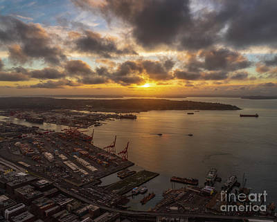 Water Droplets Sharon Johnstone - Port of Seattle Sunset Skies by Mike Reid