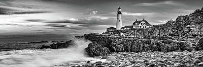 Royalty-Free and Rights-Managed Images - Portland Head Light Maine Landscape Panorama in Black and White by Gregory Ballos