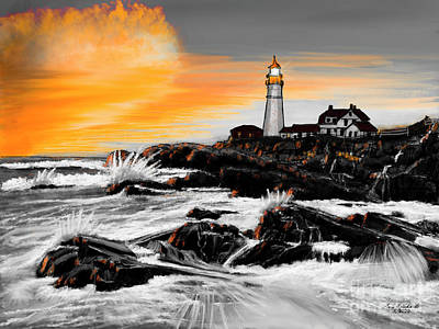 Curated Beach Towels - Portland Head Lighthouse Orange by Gary F Richards