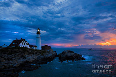 Royalty-Free and Rights-Managed Images - Portland Head Lighthouse with Fishing Boat. by Diane Diederich