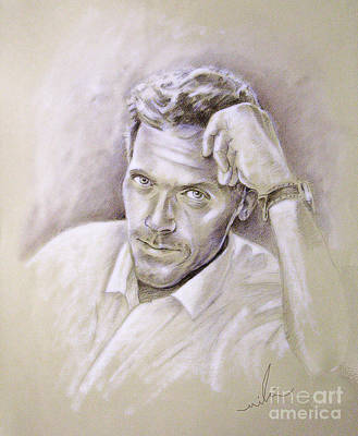 Musicians Drawings Rights Managed Images - Portrait of Hugh Laurie Royalty-Free Image by Miki De Goodaboom