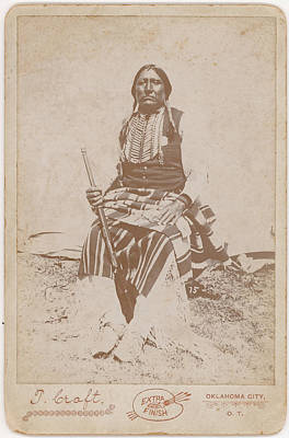 Vintage Movie Stars Royalty Free Images - Portrait photograph of Chief Hummingbird of the Kiowa Photographed in the field by Thomas Croft Royalty-Free Image by Celestial Images