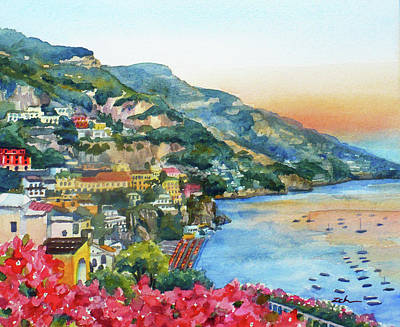 Painting - Positano Sunset by Janet Zeh