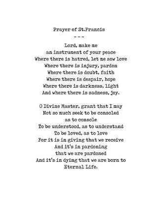 Digital Art - Prayer of St.Francis - An instrument of your peace - Minimal, Typewriter Print - Motivational Poem by Studio Grafiikka