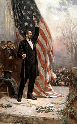 Landmarks Painting Royalty Free Images - President Abraham Lincoln Giving A Speech Royalty-Free Image by War Is Hell Store
