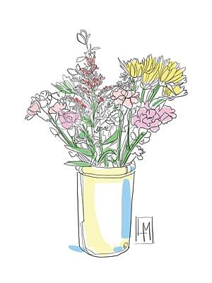 Black And White Ink Illustrations - Pretty Flowers In a Tall Jug by Luisa Millicent