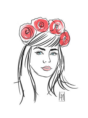 Roaring Red - Pretty Girl with Roses in her Hair by Luisa Millicent