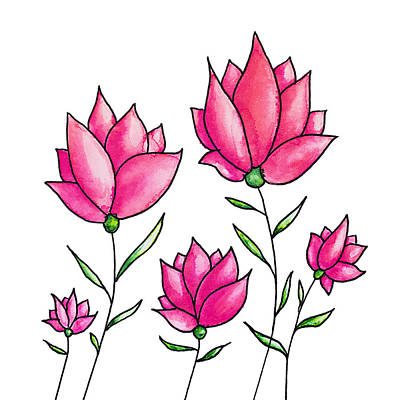 Vermeer Rights Managed Images - Pretty Pink Flowers Ink Watercolor Art Royalty-Free Image by Boriana Giormova