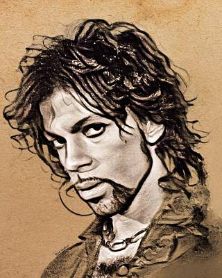 Coy Fish Michael Creese Paintings - Prince Sketch Portrait  by Scott Wallace Digital Designs