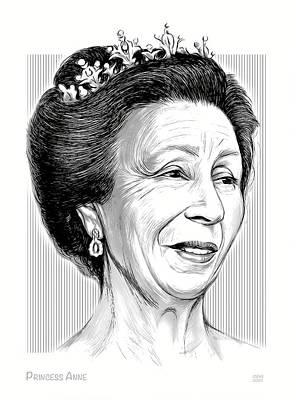 Digital Art - Princess Anne - Line Art by Greg Joens