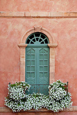 Royalty-Free and Rights-Managed Images - Provence - Terracotta - Turquoise Door - White Flowered Balcony by Brian Jannsen