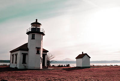 Surrealism Royalty Free Images - Pt.Robinson Lighthouse Seattle - Surreal Art by Ahmet Asar Royalty-Free Image by Celestial Images