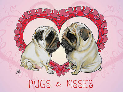 Royalty-Free and Rights-Managed Images - Pugs and Kisses by Canine Caricatures Custom Merchandise