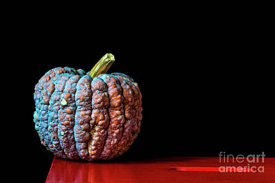 Photograph - Pumpkin on a Red Stool by Guido Koppes