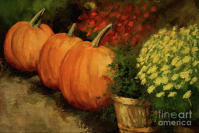 Digital Art - Pumpkins And Mums by Lois Bryan