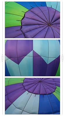 Photograph - Purple Blue Green Hot Air Balloon Triptych by Judy Garrard