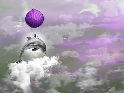 Mixed Media Royalty Free Images - Purple Candy Air Balloon Ride Royalty-Free Image by Marvin Blaine