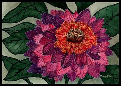 Caravaggio - Purple Dahlia Flower W/ Border by Michael Panno