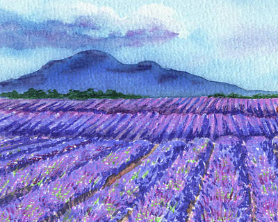 Royalty-Free and Rights-Managed Images - Purple Lavender Field Blue Mountains Watercolor Landscape  by Irina Sztukowski