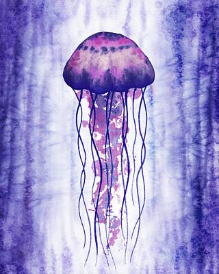 Rusty Trucks - Purple Ocean Jellyfish Watercolor  by Irina Sztukowski