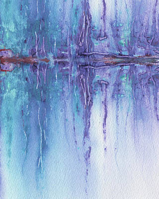 Royalty-Free and Rights-Managed Images - Purple Reflections Abstract Watercolor  by Irina Sztukowski
