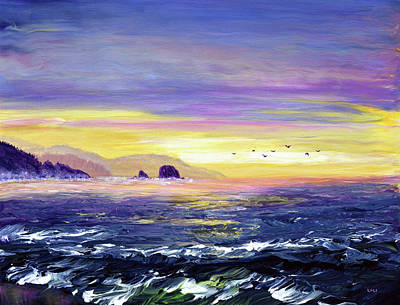 Painting - Purple Twilight Over the Oregon Coast by Laura Iverson
