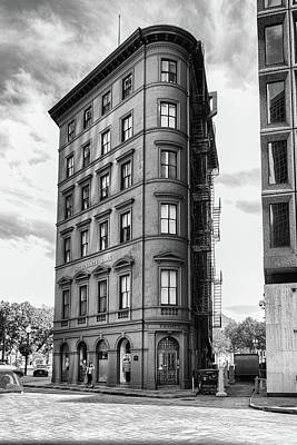 Photograph - PVD Merchant's Bank Black and White by Sharon Popek