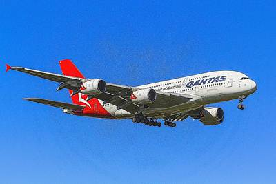 Christmas Cards - Qantas Airbus A380 Art              1 by David Pyatt